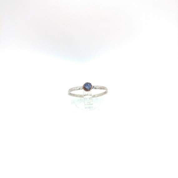 Sapphire Ring | Sterling Silver Copper Ring Sz 10.5 | Raw Sapphire Ring | Raw Stone Jewelry | Mixed Metal Ring | Stackable Ring