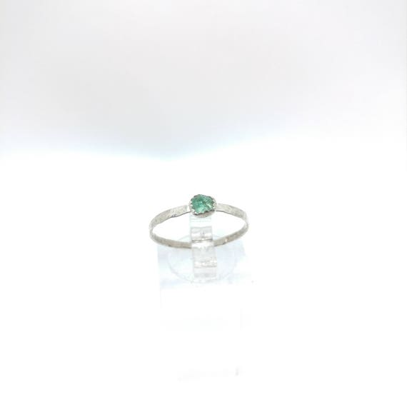 Raw Aquamarine Stacking Ring | Sterling Silver Ring Sz 9.5 | Raw Blue Aquamarine Ring | Raw Stone Ring | Raw Stone Stackable Ring