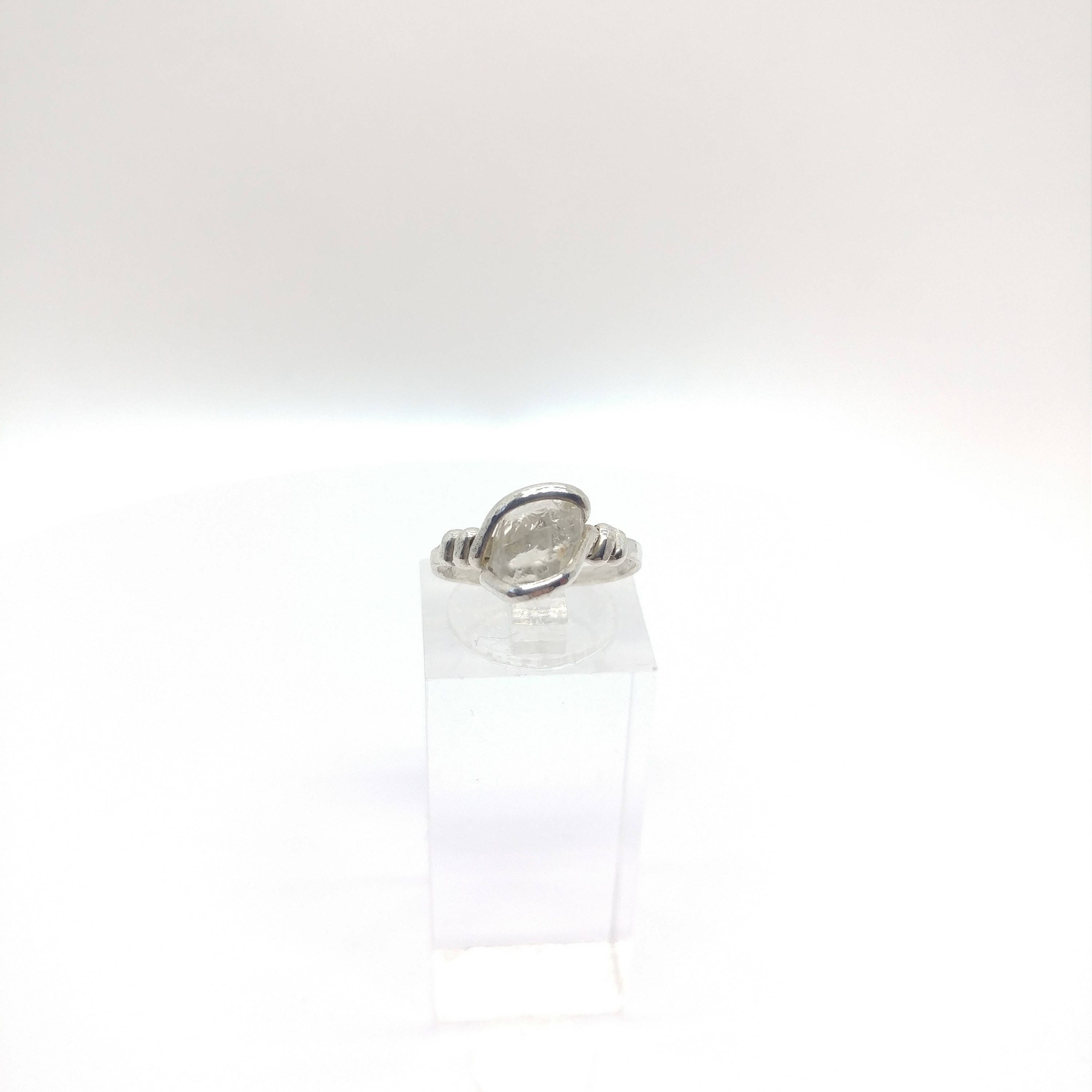 Raw Topaz Ring Raw Crystal Ring Sterling Silver Ring Sz. 6