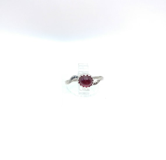 Simple Red Ring | Ruby Knuckle Ring | Sterling Silver Ring Sz 5.25 | Oval Ruby Ring | Red Ruby Ring | July Birthstone Ring