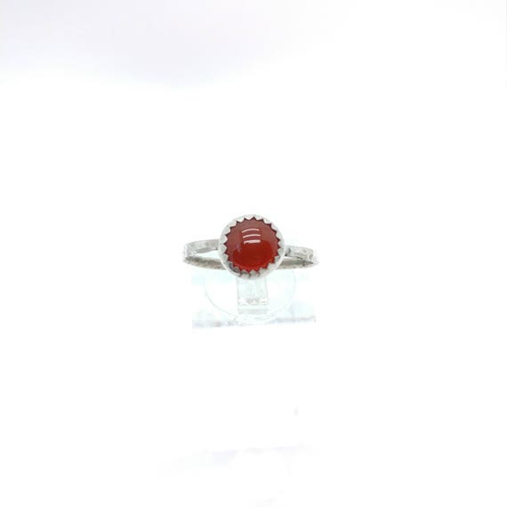 Natural Red Stone Ring | Sterling Silver Ring Sz 9 | Carnelian Stone | Carnelian Agate Ring | Carnelian Ring | Boho Ring | Gemstone Ring