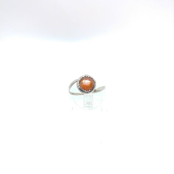 Simple Sunstone Ring | Indian Sunstone Ring | Sterling Silver Ring Sz 7 | Confetti Sunstone Ring | Simple Orange Gemstone Ring