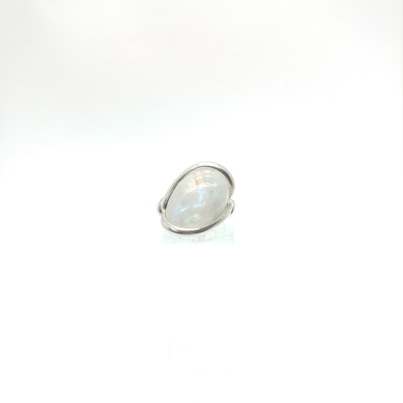 Rainbow Moonstone Ring | Sterling Silver Ring Sz 6 | Simple White Ring | June Birthstone Ring | Simple Stone Ring | Simple Moonstone Ring