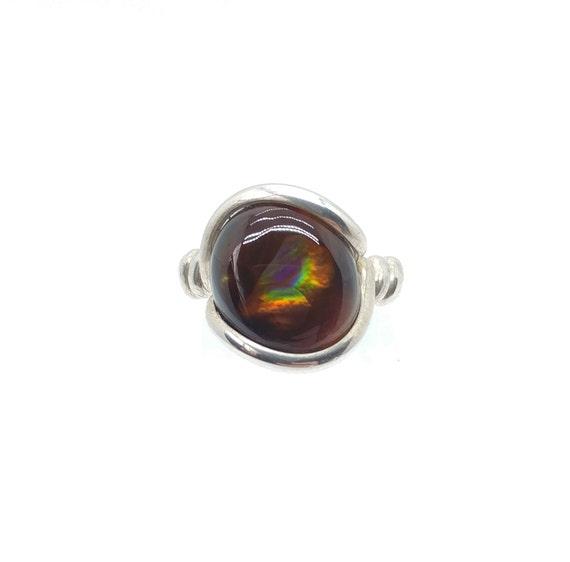 Rainbow Stone Ring | Mexican Fire Agate Ring | Sterling Silver Ring Sz 7 | Fire Agate Jewelry | Rare Gemstone Ring | Gift for Girlfriend