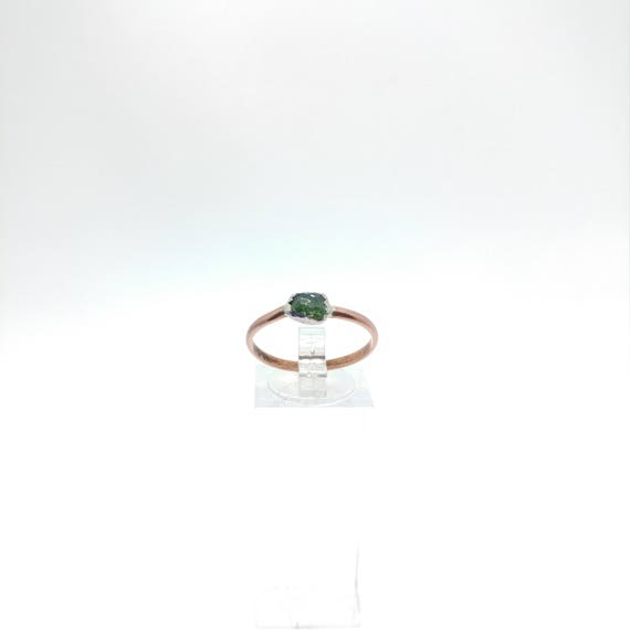 Raw Chrome Diopside Ring   Mixed Metal Ring Sz 9.75   Raw Green Crystal Ring   Raw Stone   Forest Green Crystal Jewelry