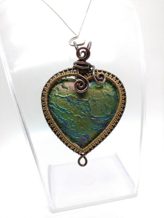 Rainbow Aura Quartz Wire Wrap Pendant Necklace | Heart Shape | Mixed Metal Brass Copper | Steampunk Cosplay Jewelry