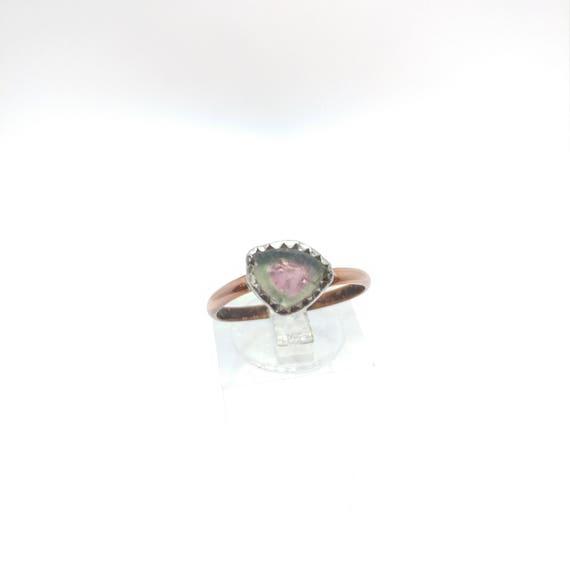 Watermelon Tourmaline Slice Ring | Mixed Metal Ring sz 7.75 | Green Pink Tourmaline Jewelry | Tourmaline Crystal Rings | October Birthstone