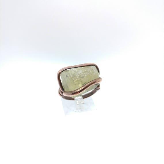 Heliodor Ring | Copper Ring sz 9 | Raw Crystal Ring | Raw Stone Ring | Yellow Beryl Ring | Golden Beryl Ring | Yellow Green Beryl Ring