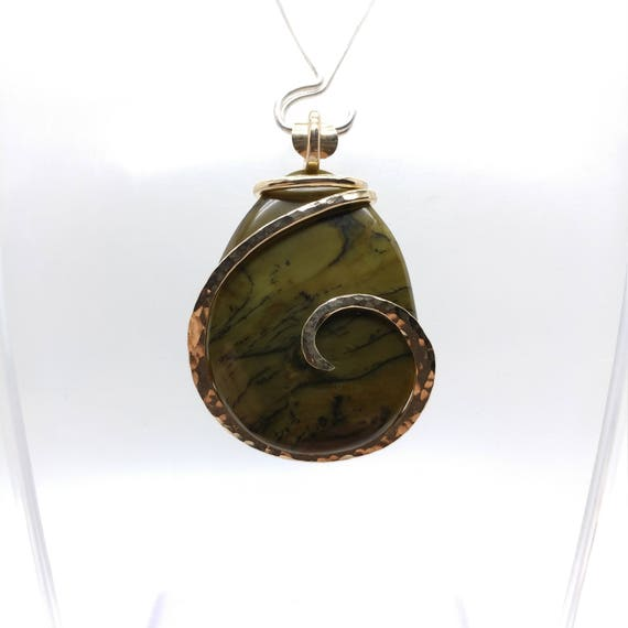 Rare Green Owyhee Jasper Pendant | Oregon Picture Jasper Necklace | 14kt Yellow Gold Filled | Owyhee Canyon Jasper | Mined in Oregon