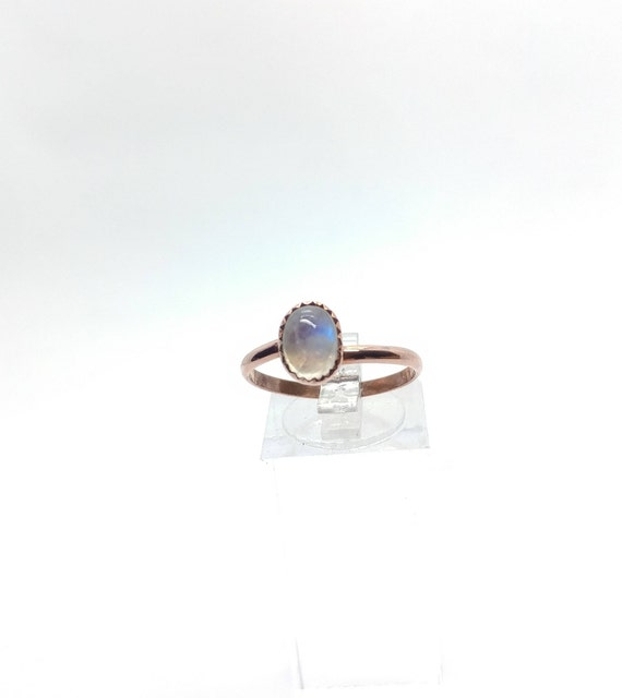 Simple Moonstone Ring   Rainbow Moonstone Ring   Copper Ring Sz 9.75   Simple White Ring   June Birthstone Ring   Blue Moonstone