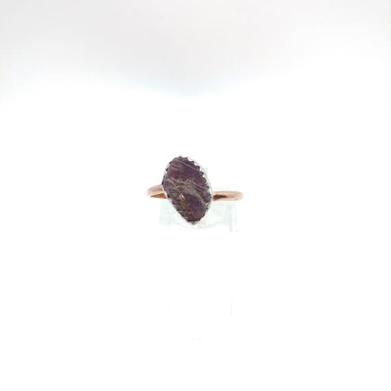 Raw Ruby Ring   Raw Crystal Ring   Mixed Metal Ring Sz 11.25   Rough Ruby   Ruby Recordkeeper Crystal   Post Apocalyptic   July Birthstone