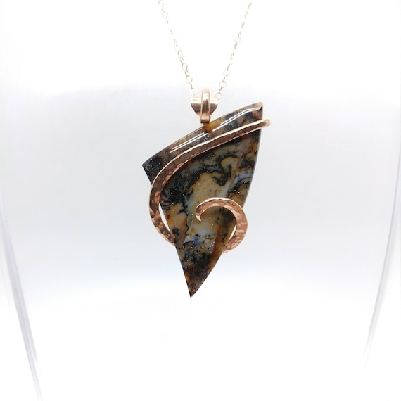 Snake River Dendritic Agate Pendant Necklace | 14kt Rose Gold Filled | Rare Gemstone | Eastern Oregon | Agate Jewelry | Oregon Idaho Agate