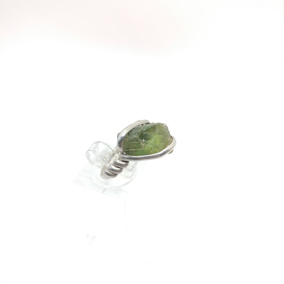 Rough Tourmaline Ring | Sterling Silver Ring Sz 6.5  | Raw Green Tourmaline Ring | Uncut Gemstone Ring | Green Tourmaline Jewelry