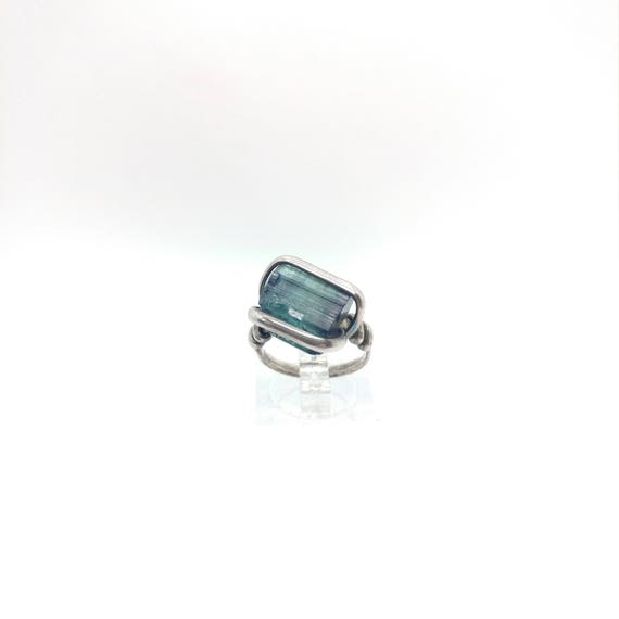 Blue Tourmaline Ring | Sterling Silver Ring Sz 6.5  | Rough Tourmaline Ring | Uncut Gemstone Ring | Tourmaline Crystal | Tourmaline Jewelry