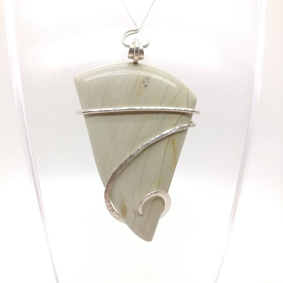 Willow Creek Jasper Pendant | Simple Green Pendant | Fine Jasper Pendant | Sterling Silver | Mint Green Pendant | Picture Jasper Pendant