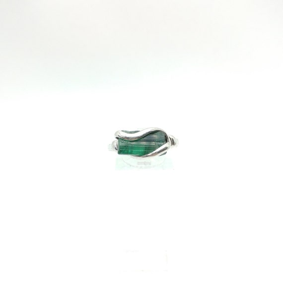 Raw Tourmaline Ring | Sterling Silver Ring Sz 11.75  | Rough Green Tourmaline Ring | Uncut Gemstone Ring | Green Tourmaline Jewelry
