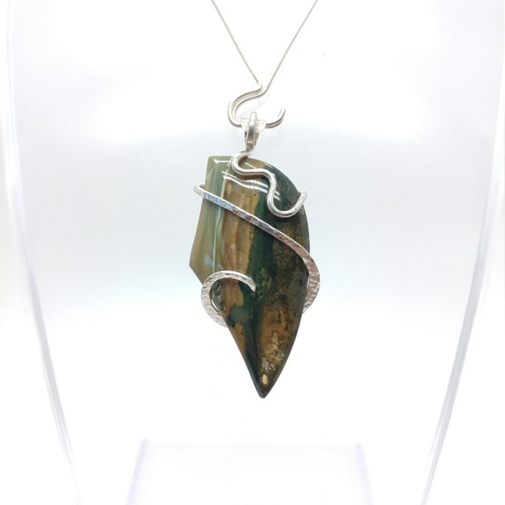Rustic Jasper Pendant Necklace | Sterling Silver Pendant Necklace | Gary Green Jasper Pendant | Post-Apocalyptic Cosplay