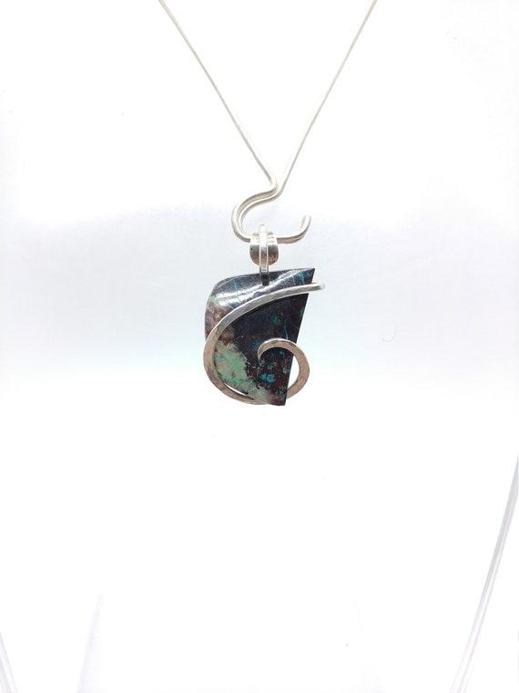 Arizona Shattuckite Chrysocolla Pendant | Sterling Silver Pendant | Gemstone Pendant | Chrysocolla Jewelry | Natural Stone Pendant