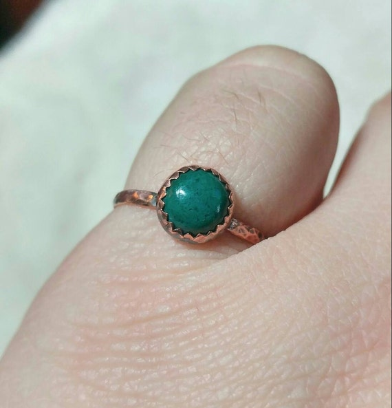 Simple Green Stone Ring   Copper Ring Sz 8.25   Malachite Ring   Chrysocolla Ring   Green Blue Stone Ring   Boho Ring   Rustic Stone Ring