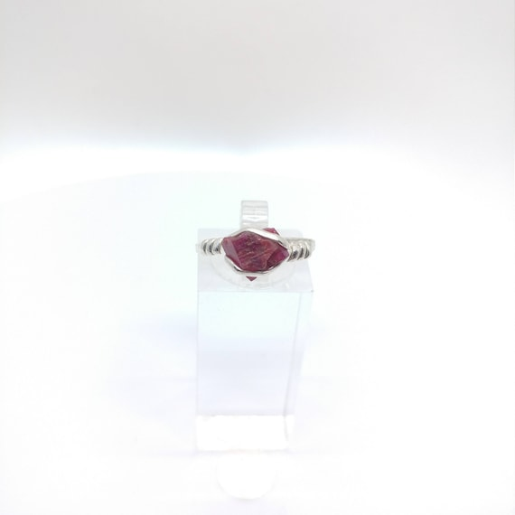 Raw Ruby Ring | Rough Ruby Ring  | Sterling Silver Ring sz 8.25 | Raw Stone Ring | July Birthstone Jewelry | Uncut Gemstone | UV Reactive