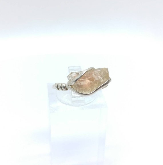 Rough Gemstone Ring | Oregon Sunstone Ring | Raw Crystal Ring | Sterling Silver Ring Sz 6.75 | Schiller Sunstone | Oregon Sunstone Jewelry
