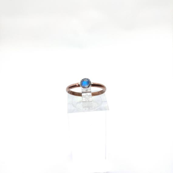 Moonstone Stacking Ring | Copper & Sterling Silver Ring Sz 6.25 | Moonstone Stackable Ring | Rainbow Moonstone Jewelry