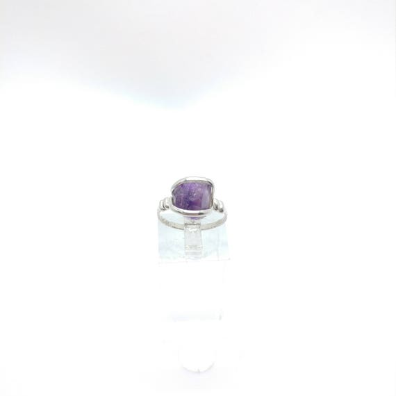 Raw Amethyst Ring | Sterling Silver Ring Sz 7 | Raw Stone Ring | Raw Crystal Ring | Dark Purple Crystal Ring | Rough Purple Quartz Ring