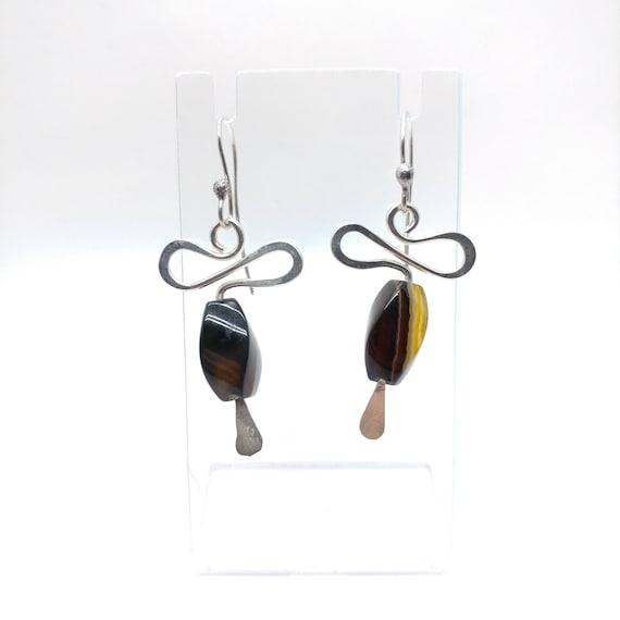 Gemstone Earrings | Sterling Silver Earrings | Botswana Agate Earrings | Boho Earrings | Natural Stone Earrings | Hammered Silver Earrings