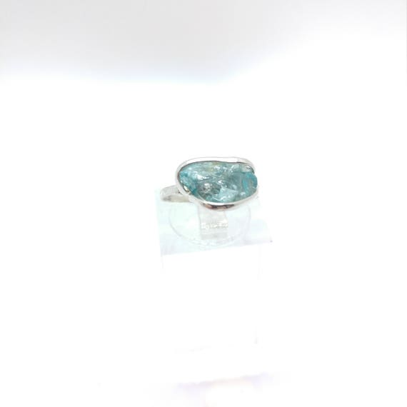 "Raw Crystal Ring | Blue Zircon Ring | Raw Blue Zircon Ring | Sterling Silver Ring Sz 5 | Raw ""Diamond"" Ring 