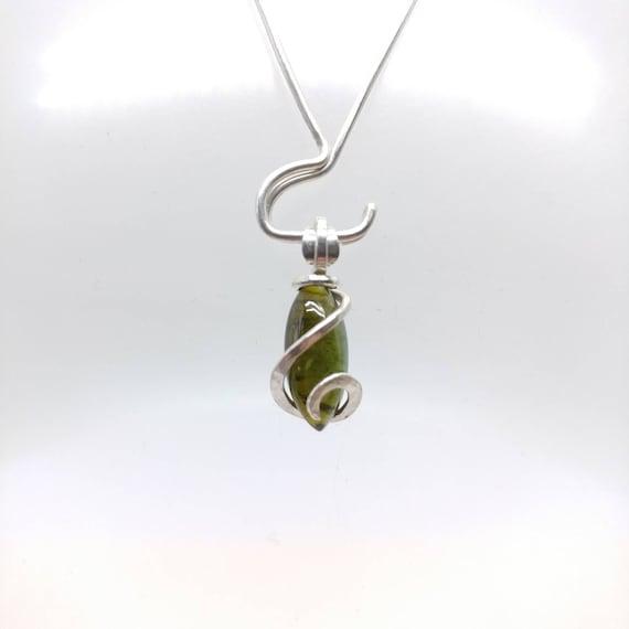 Dainty Gemstone Pendant | Tourmaline Pendant | Sterling Silver | Simple Gemstone Pendant | Dainty Stone Pendant | Green Tourmaline Jewelry