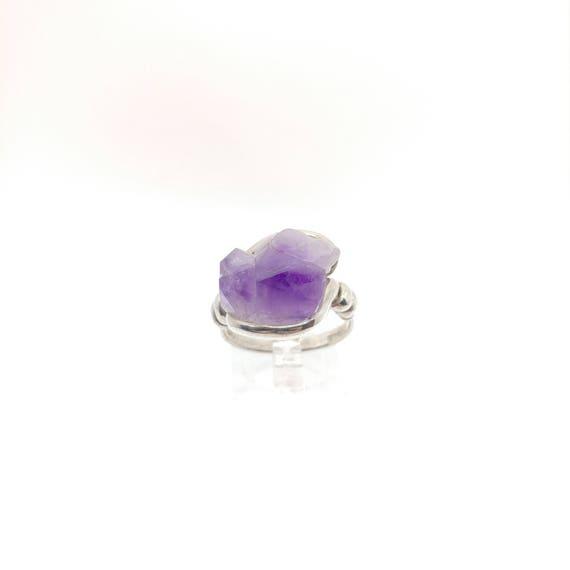 Raw Amethyst Ring | Sterling Silver Ring Sz 9 | Raw Stone Ring | Raw Crystal Ring | Amethyst Jewelry for Wife | Amethyst Druzy Ring