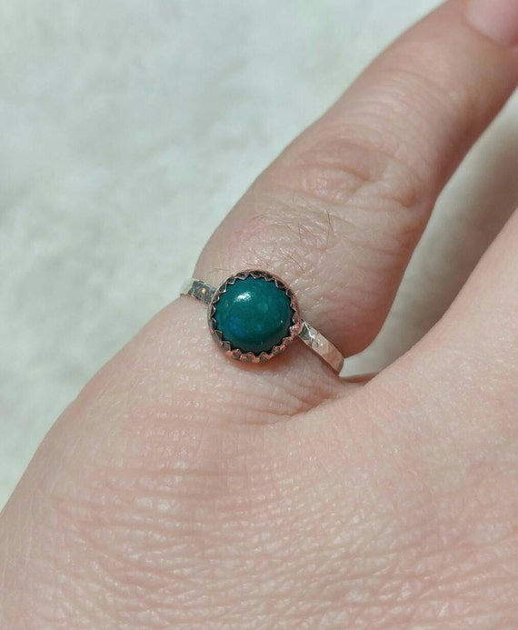 Rustic Stone Ring   Chrysocolla Ring   Mixed Metal Ring   Sterling Silver Ring Sz 6.5   Copper Ring   Tribal Rings for Women   Boho Ring