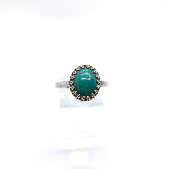 Ocean Blue Stone Ring | Antique Brass Ring | Chrysocolla Ring | Sterling Silver Ring Sz 10.25 | Blue Green Gemstone Ring | Mixed Metal Ring