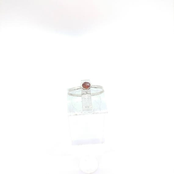 Peach Pink Sapphire Stacking Ring | Sterling Silver Ring Sz 5.75 | September Birthstone Ring | Rose Cut Sapphire Jewelry
