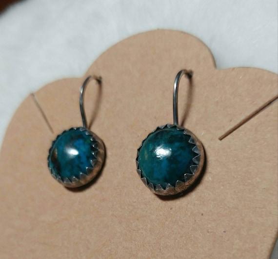 Gemstone Earrings | Sterling Silver Earrings | Chrysocolla Earrings | Chrysocolla Jewelry | Boho Earrings | Natural Stone Earrings | Dangle