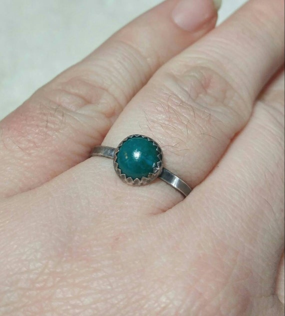 Turquoise Blue Stone Ring | Sterling Silver Ring Sz 8 | Blue Green Stone Ring | Chrysocolla Ring | Sterling Silver Blue Gemstone Ring