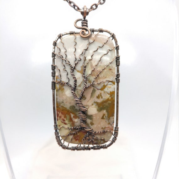 Tree-of-Life Pendant | Rocky Butte Picture Jasper Pendant | Copper Tree-of-Life Wire Pendant | Tree-of-Life Jewelry | Family Tree Necklace