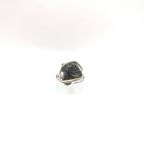 Raw Tourmaline Ring | Sterling Silver Ring Sz 4.5 | Rough Tourmaline Ring | Uncut Gemstone Ring | Tourmaline Crystal Ring