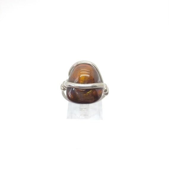Rare Gemstone Ring | Fire Agate Ring | Handmade Sterling Silver Ring Sz 10 | Mexican Fire Agate Ring | Fire Agate Jewelry | Men's Ring