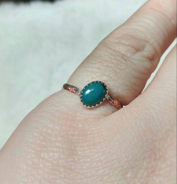 Copper Stone Ring   Chrysocolla Ring   Mixed Metal Ring   Sterling Silver Ring Sz 7.5   Oval Stone   Natural Chrysocolla Ring   Rustic Ring