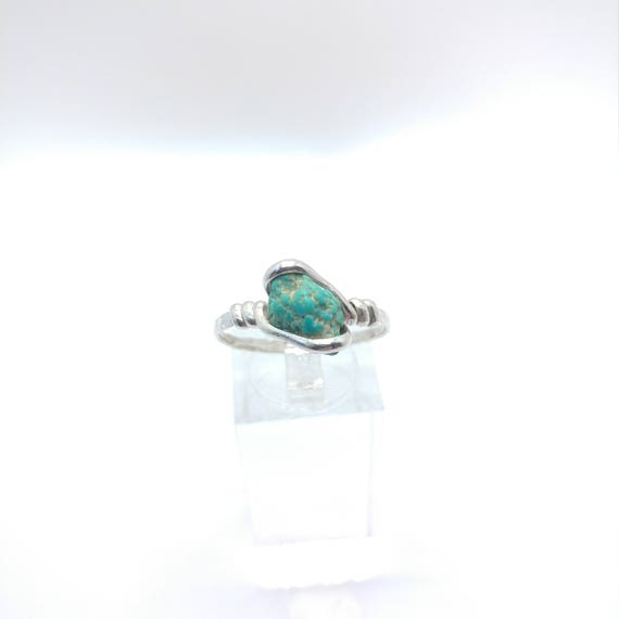 Raw Turquoise Ring | Turquoise Nugget Ring | Sterling Silver Ring Sz 10 | Rough Stone Ring | Rough Crystal Ring | Turquoise Raw Ring