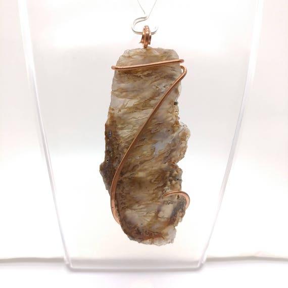 Large Raw Stone Pendant | Raw Stone Statement Necklace | Maury Mountain Moss Agate Pendant | Copper Pendant | Chunky Raw Stone Pendant