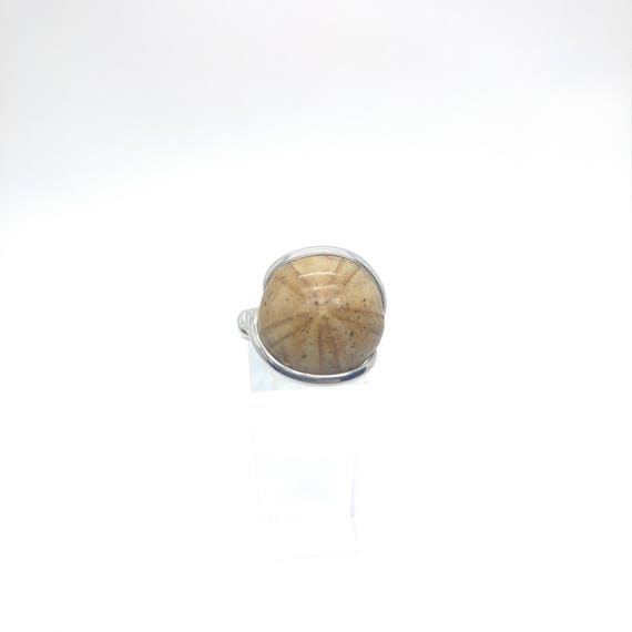 Mens Fossil Ring | Sterling Silver Ring Sz 9.75 | Raw Stone Ring | Fossilized Sanddollar Ring | Giftable Fossil Ring | Sterling Fossil Ring