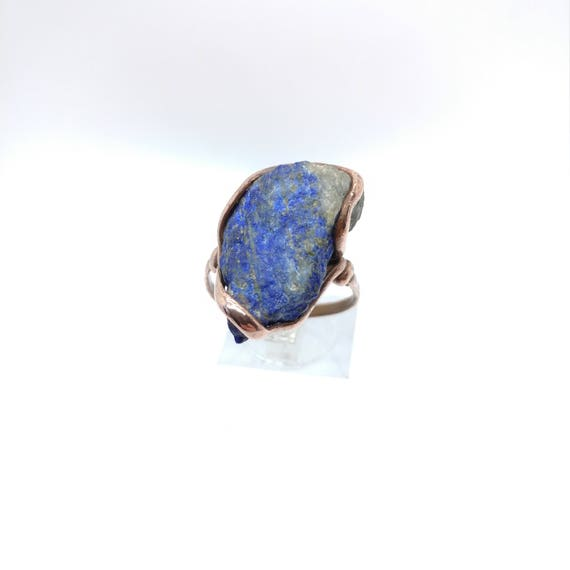 Raw Lapis Lazuli Ring | Copper Ring for Man Sz 10.25 | Raw Stone Ring | Gift for Man | Gift for Husband | Mens Rustic Ring | Rustic Lapis