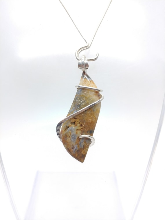 Widowmaker Blue Plume Agate Pendant | Plume Agate Necklace | Sterling Silver | Rare Stone Pendant | Included Agate Pendant