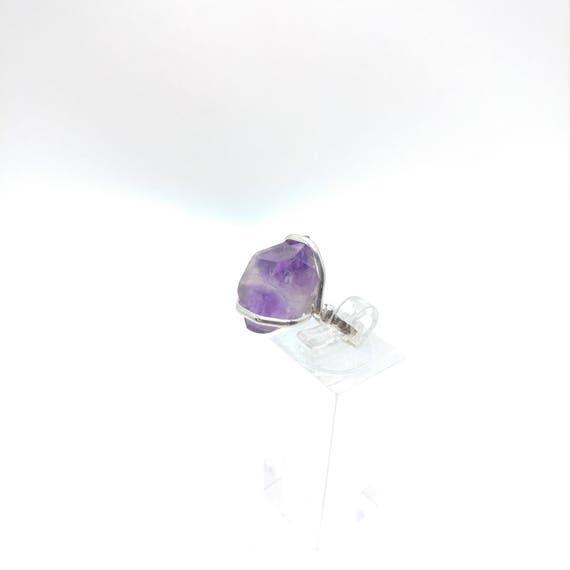 Raw Amethyst Ring | Sterling Silver Ring Sz 7 | Raw Stone Ring | Raw Crystal Ring | Amethyst Jewelry for Wife | Rough Purple Quartz Ring