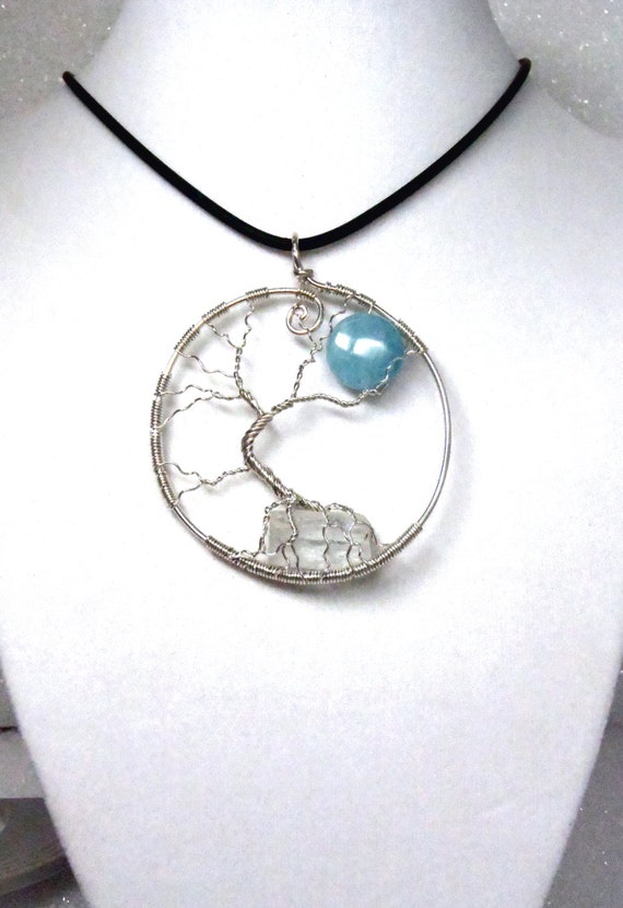 Tree-of-Life Necklace | Full Moon | 925 Silver Tree-of-Life Wire Pendant | Raw Aquamarine | Blue Quartz | March Birthstone | MADE TO ORDER