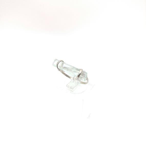 Raw Crystal Bar Ring | Sterling Silver Ring Sz 6 | Raw Aquamarine Ring | Natural Stone Ring | Aquamarine Crystal Ring | Crystal Bar Ring