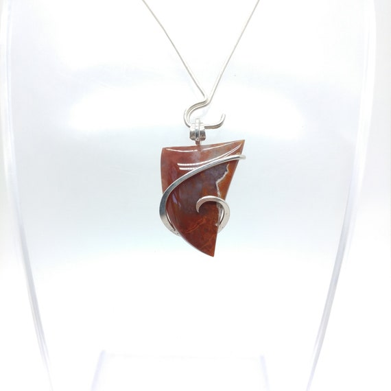 Pigeon Blood Agate Pendant | Red Chalcedony Pendant | Sterling Silver Pendant | Red Agate Pendant | Red Triangle Pendant | Carnelian Agate