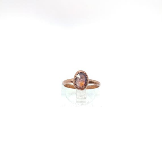 Pink Spinel Ring   Copper Ring Sz 5.5   Raw Cut Pink Gemstone Jewelry for Woman   Primitive Cut Stone Ring   Post Apocalyptic Cosplay